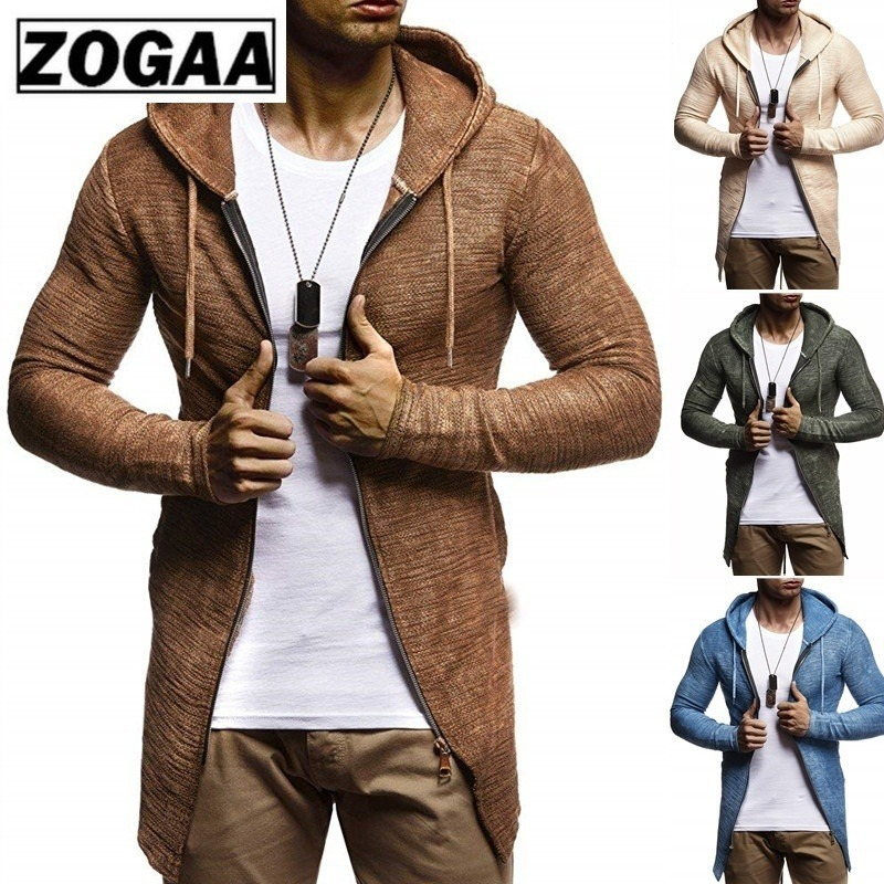 ZOGAA Sweater Cardigan Men's Autumn Winter Hooded Knitwear Sweater Coat Slim Zipper Long Sleeve Streetwear Men's Sweaters Jacket