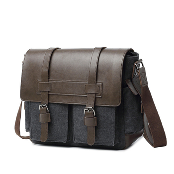 Mens Canvas & PU Leather Patchwork Messenger Bags High Quality Multifunction Shoulder Vintage Casual Travel Crossbody Bag