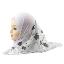 Müslüman kız başörtüsü İslami çocuklar eşarp şal çift katmanlar baskılı çiçek desen iki boyutu 2 ila 12 yaşında kızlar toptan