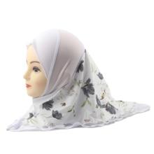 Ragazze musulmane Hijab Islamico Bambini Sciarpa Scialli Doppi Strati Fiore Stampato Del Modello A Due Dimensioni per 2 a 12 anni ragazze del Commercio Allingrosso