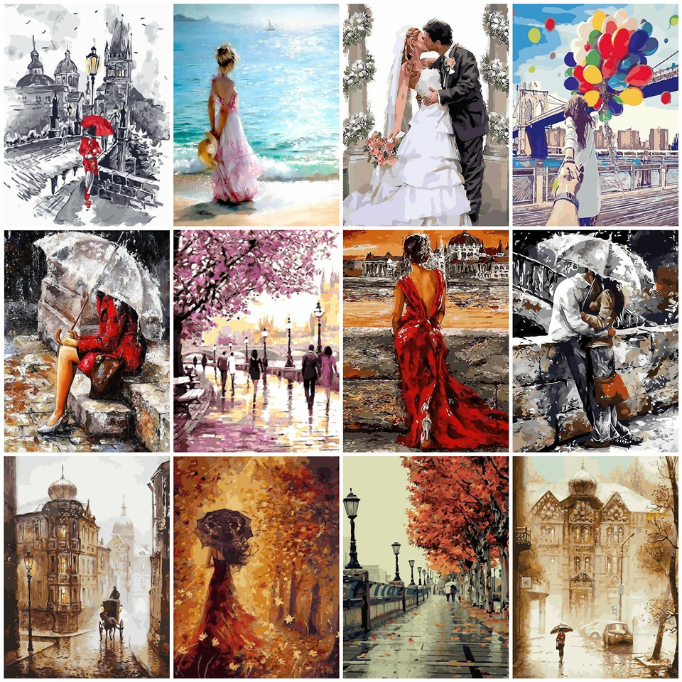 AZQSD DIY Picture On Wall Oil Painting By Number Portrait Home Decor Abstract Drawing Lover Hand Unique Gifts 40x50cm