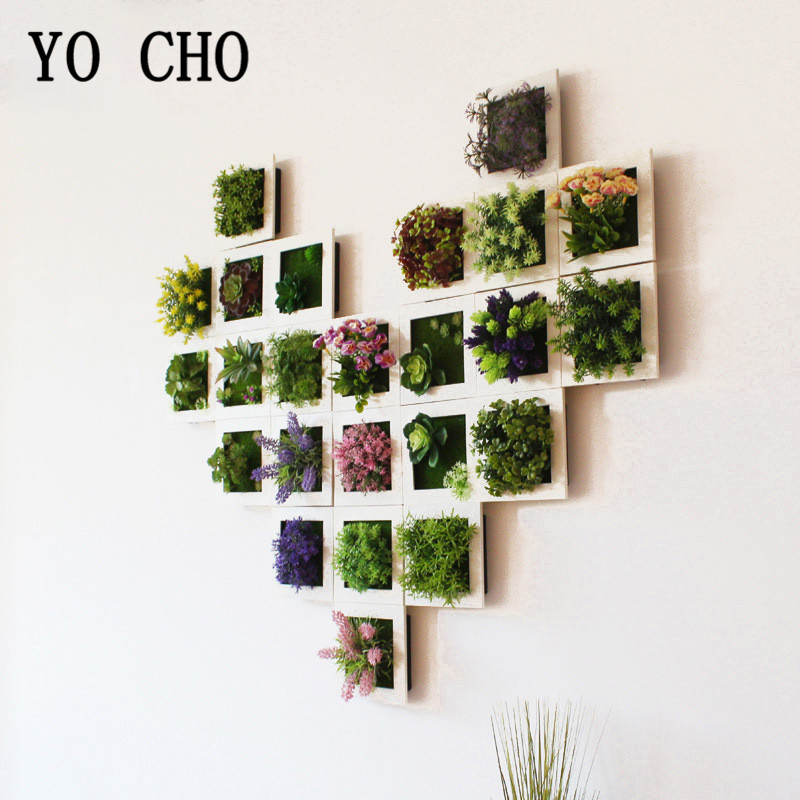 YO CHO Artificial Flowers Succulent Plant Frame 3D Removable Harmless Wall Art Frame Living Room Wedding Party Home Decor Plants