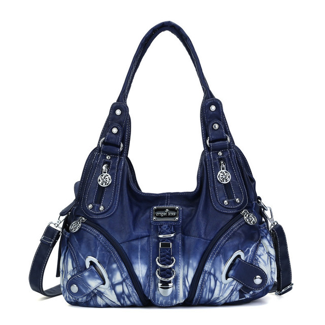 $  2020 Angel Kiss New Production Women Tie-Dyeing Washed Handbag Unique Print Roomy Lady Purse with Adjustable Long Strap