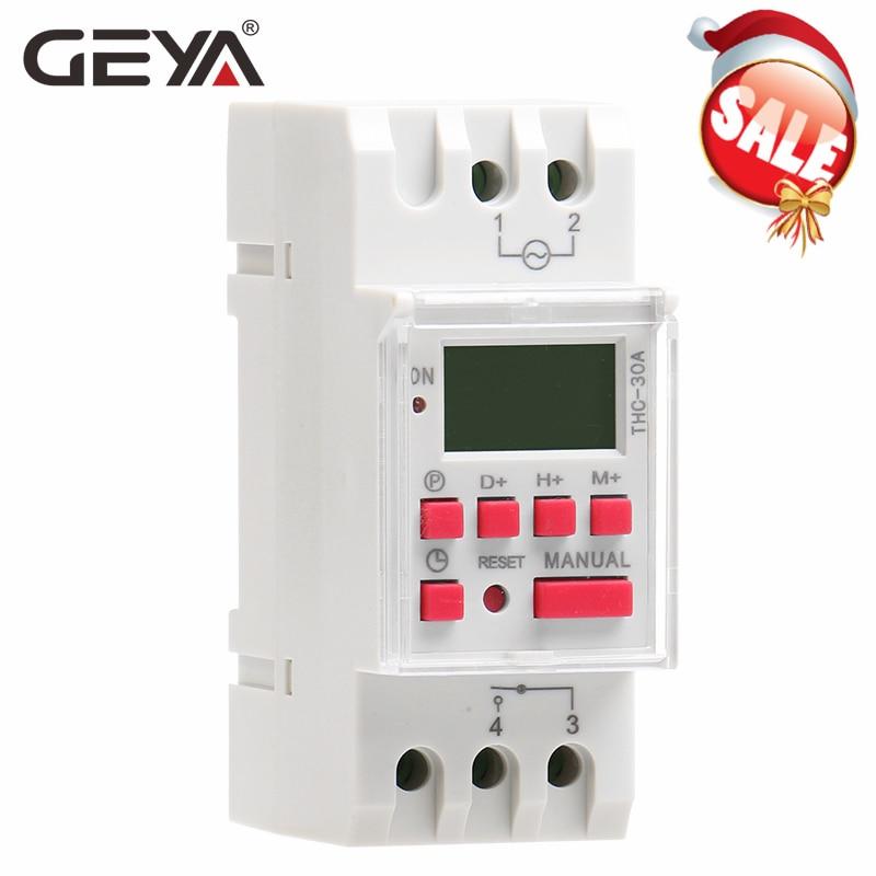 GEYA THC-30A Electric Digital Timer Switch Programmable 30A AC DC 12V 24V 110V 220V 240V  Electronic Timers 1NO