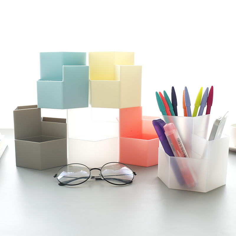 Office Multifunctional Storage Box Creative Three-layer Pen Holder Simple Plastic Desktop Storage Box Office Supplies