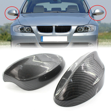 MagicKit 1 Pair Real Carbon Fiber Rearview Side Mirror Cover Caps For BMW 3 Series E90 E91 2005-2008