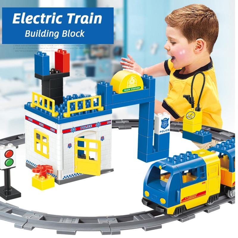 62PCS City Policeman Electric Track Rail duploing Train Building Block Brick Set Diy Kids Toys Compatible With brick Gift