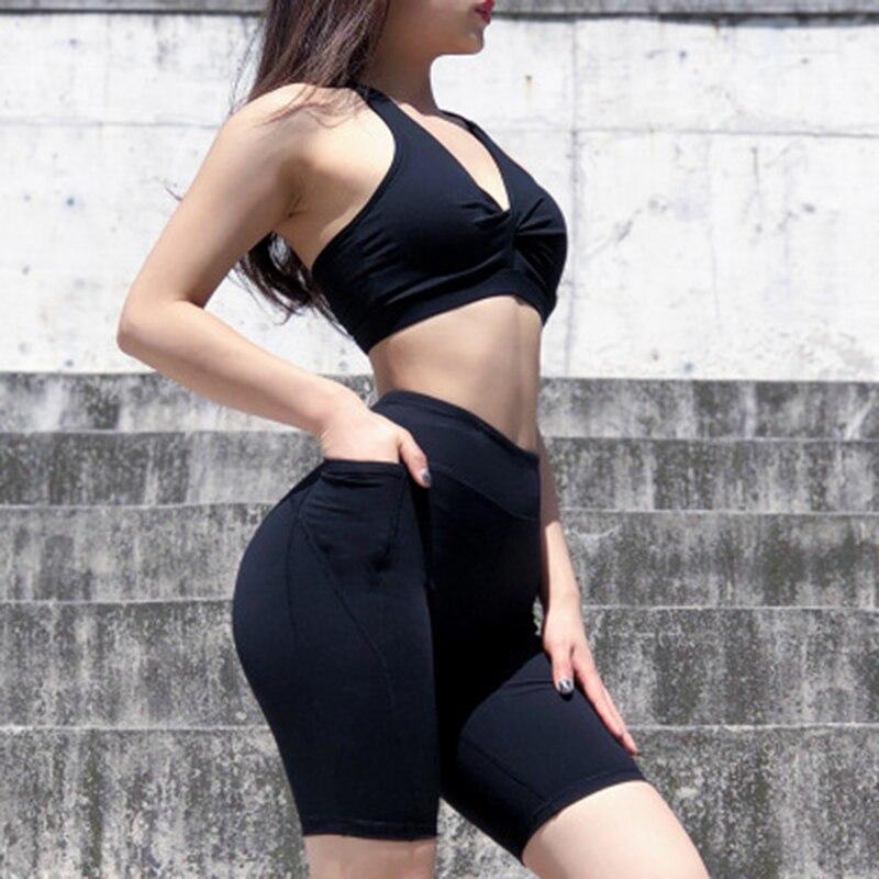 Fitness Shorts Women Sexy Yoga Trunks With Pocket Sports Wear Fitness Skinny Female Push Up Gym Clothing Short Deportivo Mujer