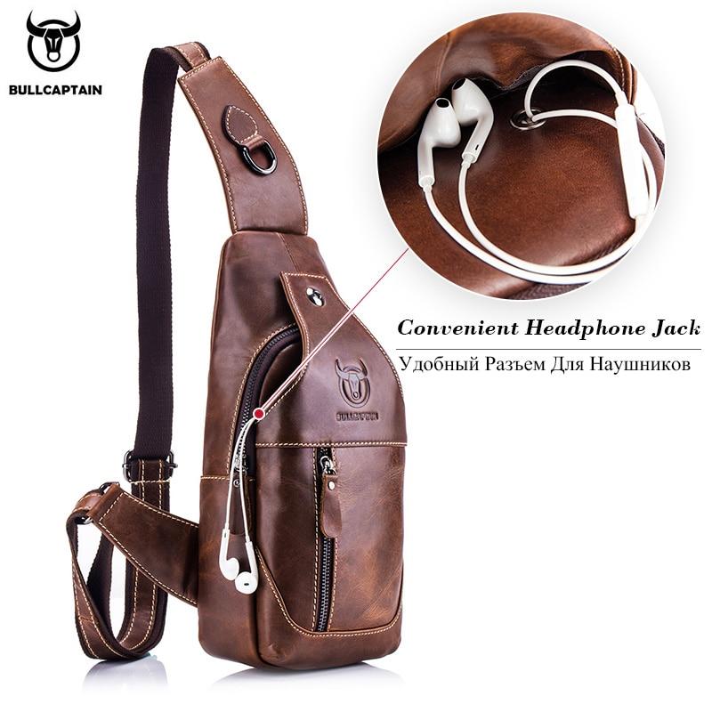 Image 3 - BULLCAPTAIN Fashion Genuine Leather Crossbody Bags men casual  messenger bag Small Brand Designer Male Shoulder Bag Chest  Packcrossbody bag menbrand shoulder bagdesigner shoulder bag -