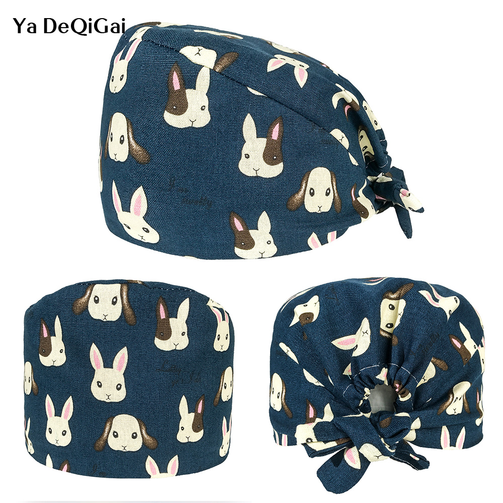 Pet Medical Hospital Work Hats Operating Room Doctor Caps Cartoon Printing Surgical Hats Dental Clinic Nursing Caps Cotton New