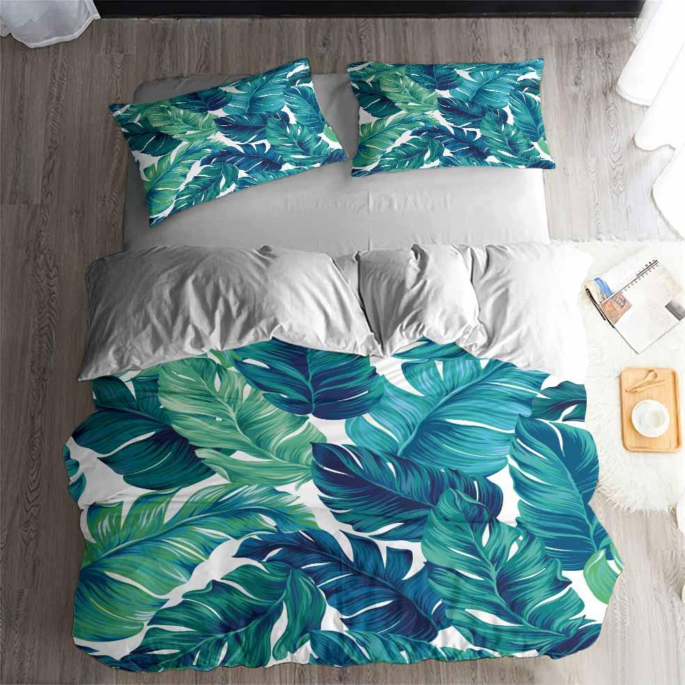 HELENGILI 3D Bedding Set Tropical Plants Print Duvet Cover Set Lifelike Bedclothes With Pillowcase Bed Set Home Textiles #RD-08