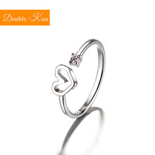 Love Heart Zircon Adjustable Ring Copper Alloy Silver Plating Resizable Rings Fashion Trendy Women Jewelry Birthday Gift(China)