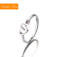 Love Heart Zircon Adjustable Ring Copper Alloy silver plated Resizable Rings Fashion Trendy Women Jewelry Birthday Gift cheap Double kim Metal Prong Setting Other Classic Bridal Sets geometric Engagement Diamond-001