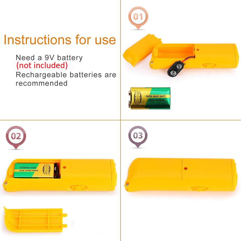 3 in 1 Dog Anti Barking Device Ultrasonic Dog Repeller Stop Bark Control Training Supplies With LED Flashlight 4