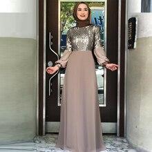 Muslim Chiffon Sequin Abaya Dubai Evening Hijab Dress Women Pakistan Kaftan Islam Clothing Caftan Dresses Arabische Kleding