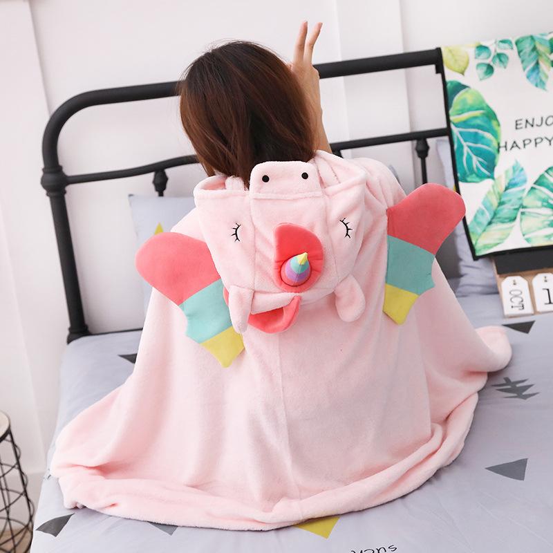 Unicorn Fleece Blanket Hooded Blanket Bed Sofa TV Throw Blankets Cartoon Hoodie Blanket Sweatshirt Christmas Gift for Children 9