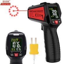 Bside Digitale Infrarood Thermometer Kleur Display 12 Point Laser Gun Ir Tester Voor Vlees Water Melk Bbq Koken Temp meter Type K