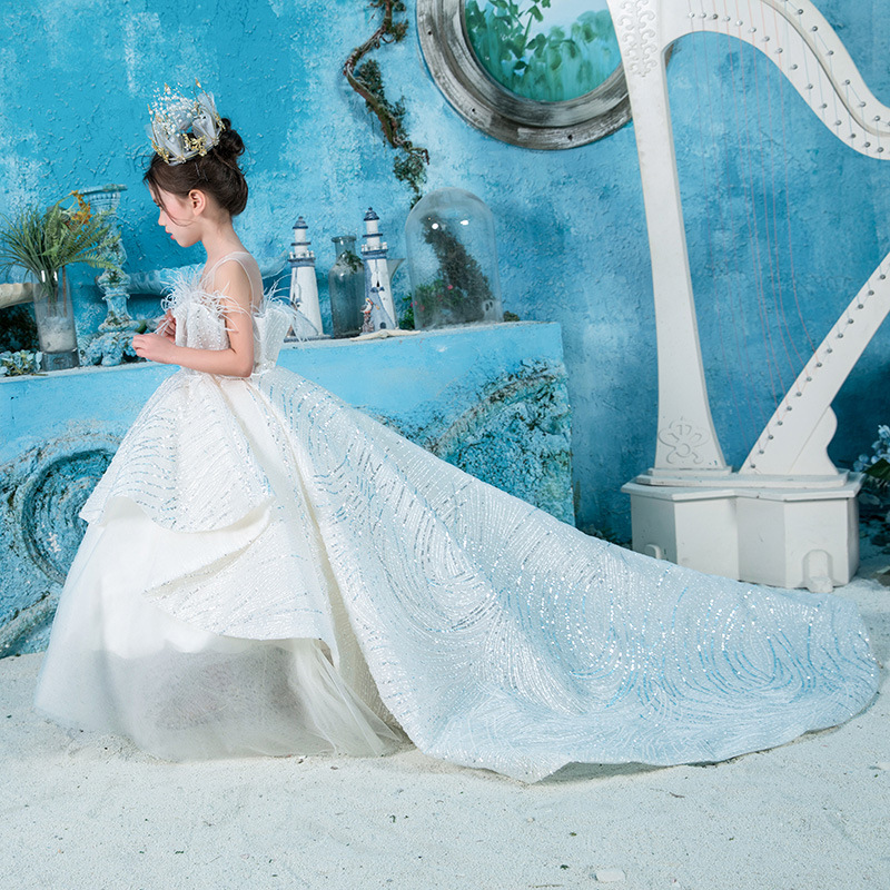 Girls Model Catwalks Clothing Flower Boys/Flower Girls White Wedding Dress Little Girl Sequin Costume Nobility Children Tailing