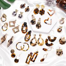 Богемные серьги-капли из акриловой смолы, женские круглые свисающие серьги с леопардовым принтом, Модные женские ювелирные серьги, новинка