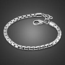 Браслет цепочка из серебра 100% пробы для мальчиков и женщин, Ювелирное Украшение из серебра 925 пробы со змеиным плетением 5 мм 20 см в стиле панк