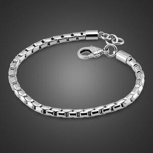 Image 1 - Véritable 100% bracelet en argent sterling pour garçons mode solide 925 argent 5MM 20cm serpent chaîne bracelet punk style femme homme bijoux