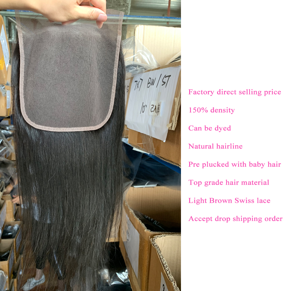 Image 4 - 7x7 Lace Closure With Human Hair Bundles Queenlike Non Remy Weaving Big Lace 3 4 Brazilian Straight Hair Bundles With Closure-in 3/4 Bundles with Closure from Hair Extensions & Wigs