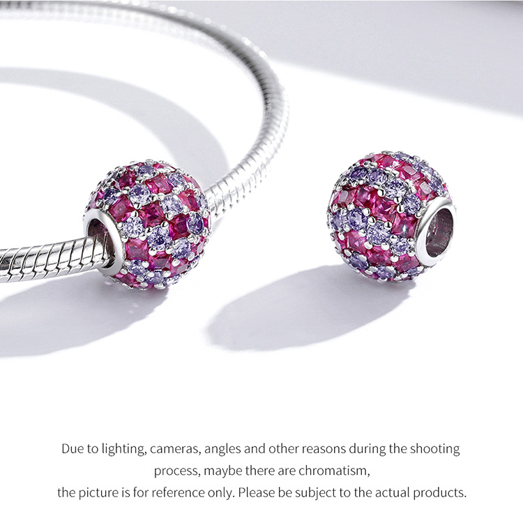 925 Sterling Silver Shining Light Ball Charms Round Beads fit Original Bracelet & Bangle Women Luxury Brand Jewelry