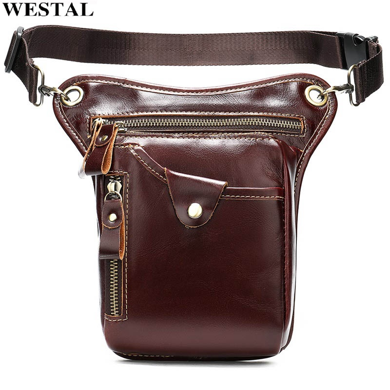 WESTAL Men Waist Bags Genuine Leather Motorcycle Leg Drop Bag Male Fanny Pack Leather Thigh Bag Leg Phone Money Belt Pouch 9667