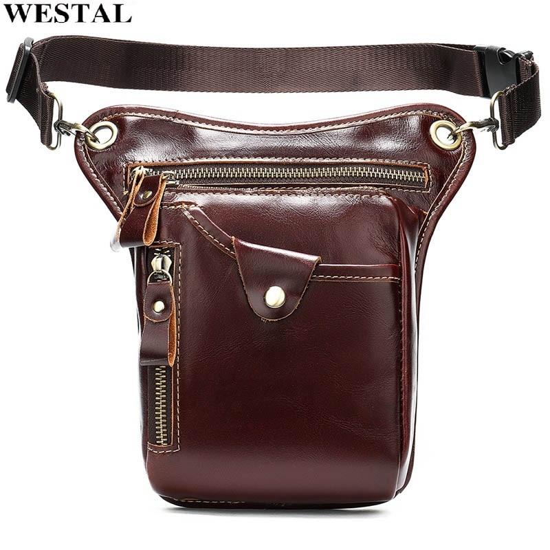 WESTAL Men Waist Bags Genuine Leather Motorcycle Leg Drop Bag Male Fanny Pack Leather Thigh Bag Leg Phone Money Belt Pouch 9667