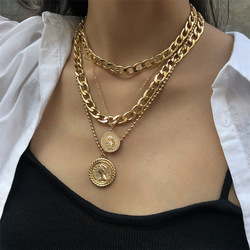 ZOSHI Punk Link Chains Choker Necklaces For Women Vintage Layered Portrait Coin Pendan Necklace Chunky Thick Cuban Jewlery