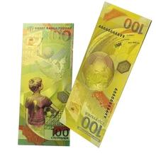 Billete de oro ruso de la Copa Mundial de fútbol, 2018 rublos, colección de billetes de dinero y decoraciones para el hogar, 100