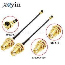 5 pces sma conector cabo fêmea para ufl/u. fl/ipx/ipex rf coaxial adaptador montagem trança cabo 1.13mm RP-SMA