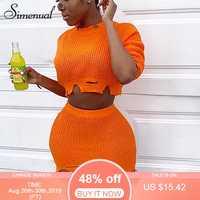 Simenual Gestrickte Herbst 2019 Mode 2 Stück Outfits Frauen Langarm Casual Passenden Sets Solide Abgeschnitten Pullover Und Rock Set
