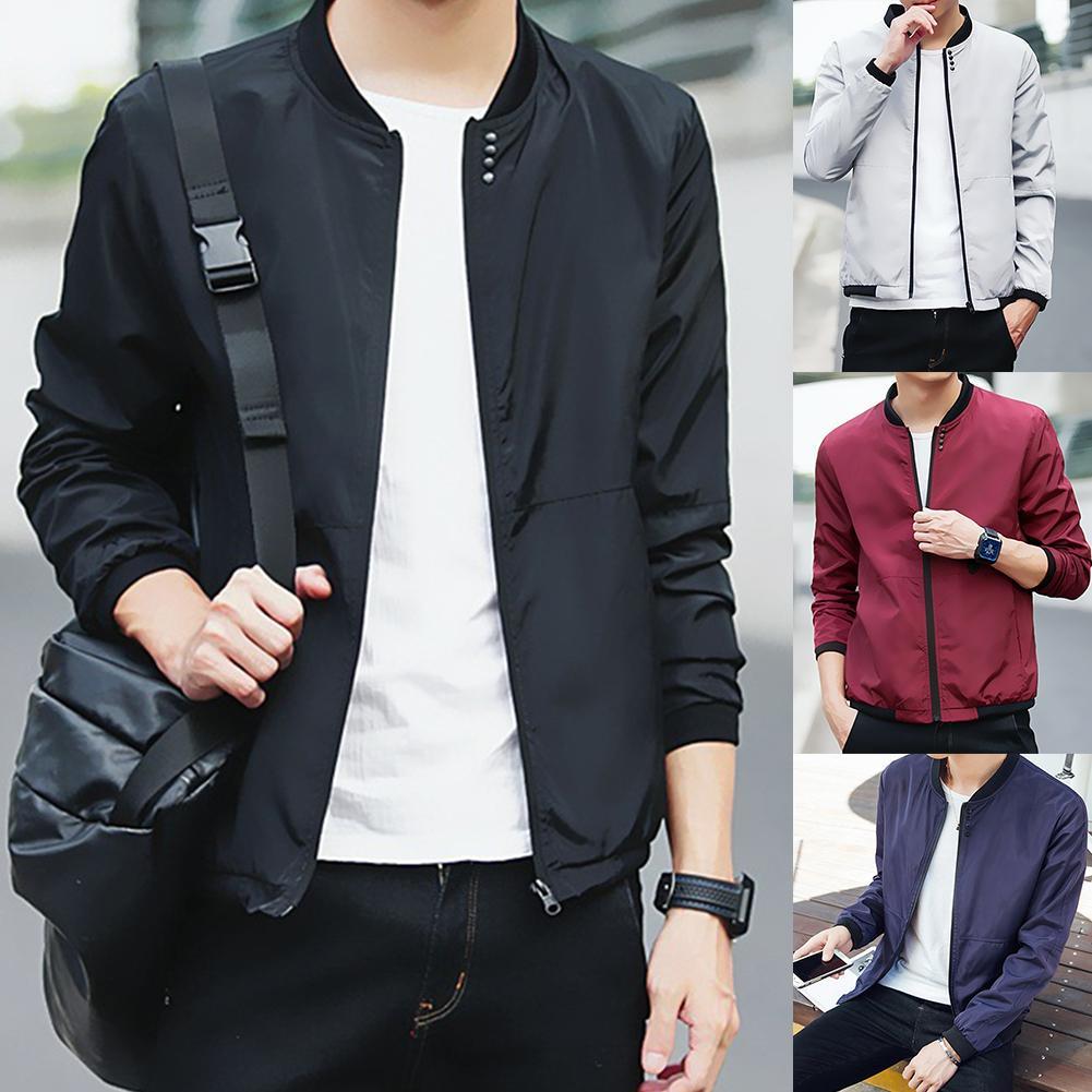 Fashion Casual Men Jacket Coat Stand Collar Baseball Jacket Long Sleeve Thin Coat For Men Clothing