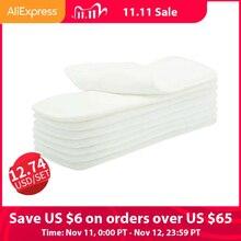 O transporte da gota! Happyflute 10 pçs lavável reusável fraldas de pano de bebê inserções de fralda microfibra 3 camadas
