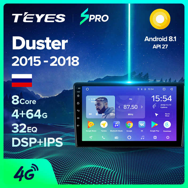 TEYES SPRO Per Renault Duster 2015 - 2018 Auto Radio Multimedia Video Player di Navigazione GPS Android 8.1 No 2din 2 din dvd
