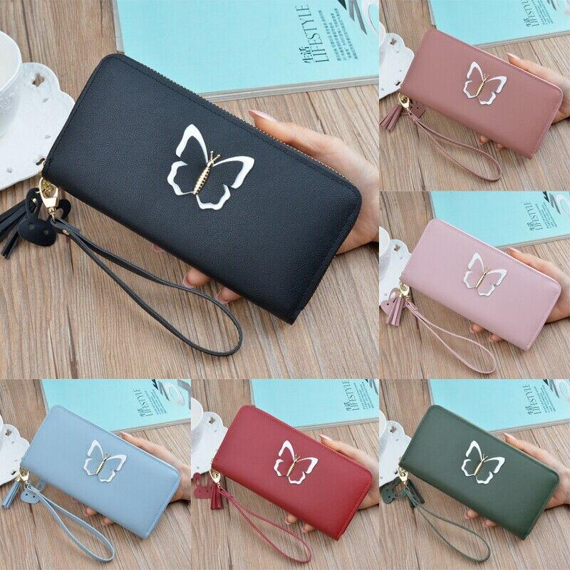 Women's Mini Wallets Butterfly Tassel Cat Pendant Clutch Leather Wallet Long Card Holder Phone Bag Case Purse Lady Handbags