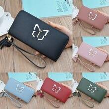 Women's mini Wallets Butterfly Tassel Cat Pendant Clutch Leather