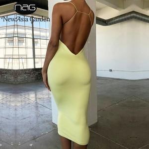 Image 1 - Newasia vestido longo de verão, vestido bodycon de 2 camadas, para o verão, vestido midi, sexy, costas nuas, feminino, para festa à noite