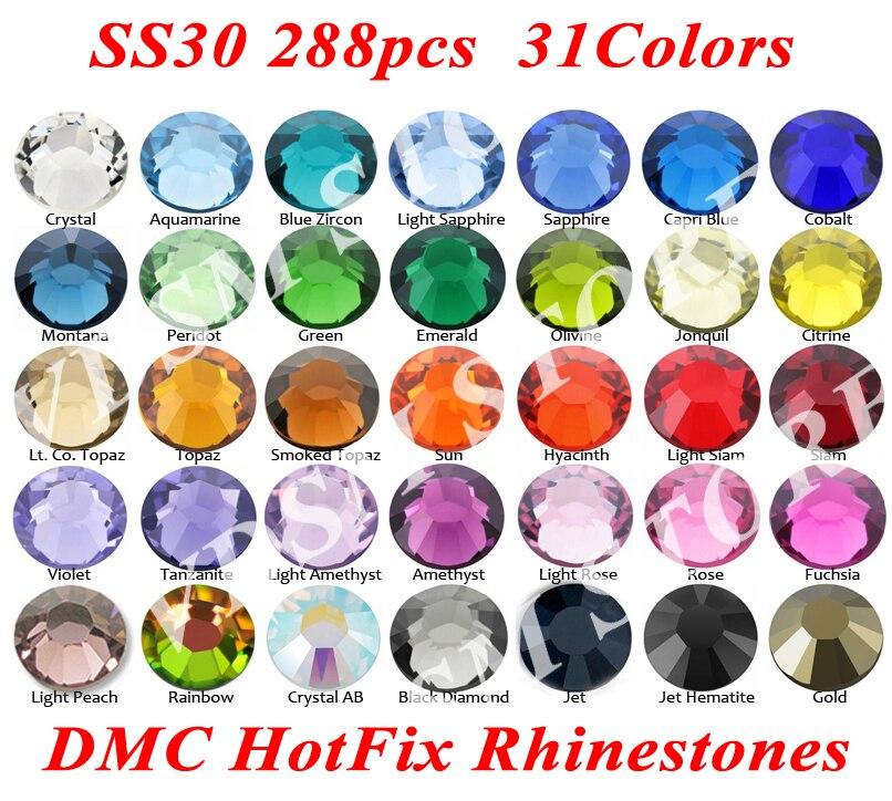 288 шт./пакет SS30 (6,3 ~ 6,5 мм) 31 цвет DMC стразы с плоским основанием Стразы с горячей фиксацией, стеклянные стразы и ткань для одежды