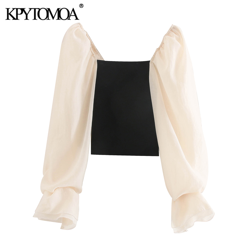 KPYTOMOA Women 2020 Fashion Patchwork Organza Cropped Knitted Blouses Vintage See Through Sleeve Stretch Female Shirts Chic Tops