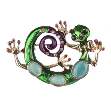 Snake Fabala Jewelry Alloy Unique Green Lizard Brooch Enamel Gecko