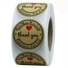 1 дюймовый круглый натуральный Крафт спасибо наклейки 500 наклеек в рулоне милый для печать ручной работы с любовью стикер