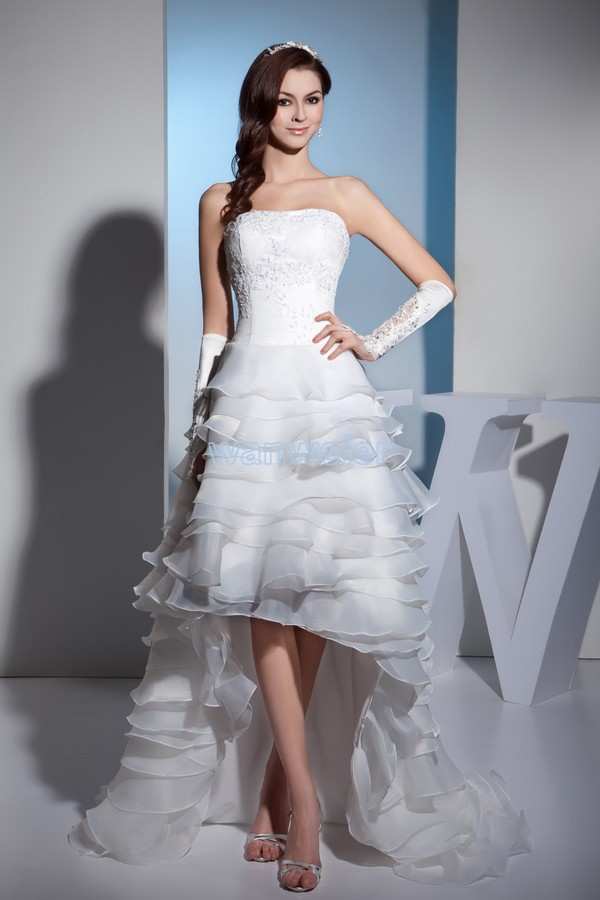 2016 Natural Scoop Special Offer Vestidos De Noiva Design Front Long Back Custom Size/color Bridal Gown Appliques Wedding Dress