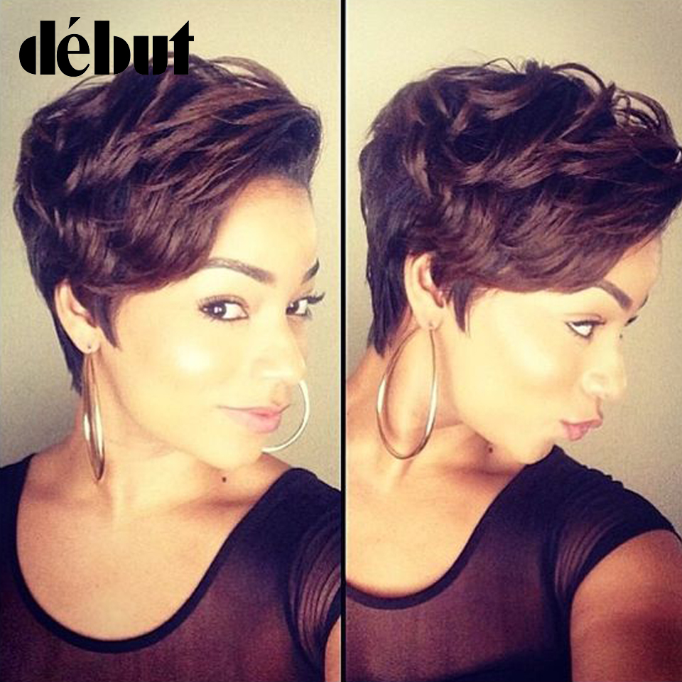Debut Human Hair Wigs Ombre Brazilian Lace Front Short Bob Wigs Cheap Remy Short Pixie Cut Human Hair Wigs For Women Black Wigs