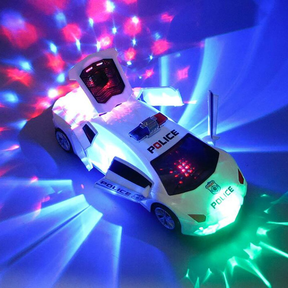360 Degree Rotary Wheel Cool Lighting Music Kids Electronic Policeing Car Toy Electric Ride On Music Car With Led Light Toy Gift