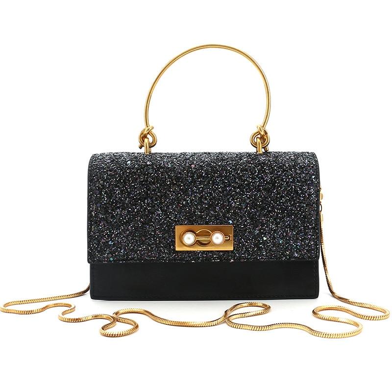 Bag for women 2020 fashion Korean version cowhide small square bag sequins handbill shoulder bag shoulder bag satchel