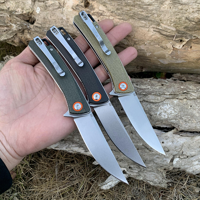 High hardness TUNAFIRE stone wash pocket knife D2 blade High-end linen handle outdoor camping utility hiking  tool knife 2