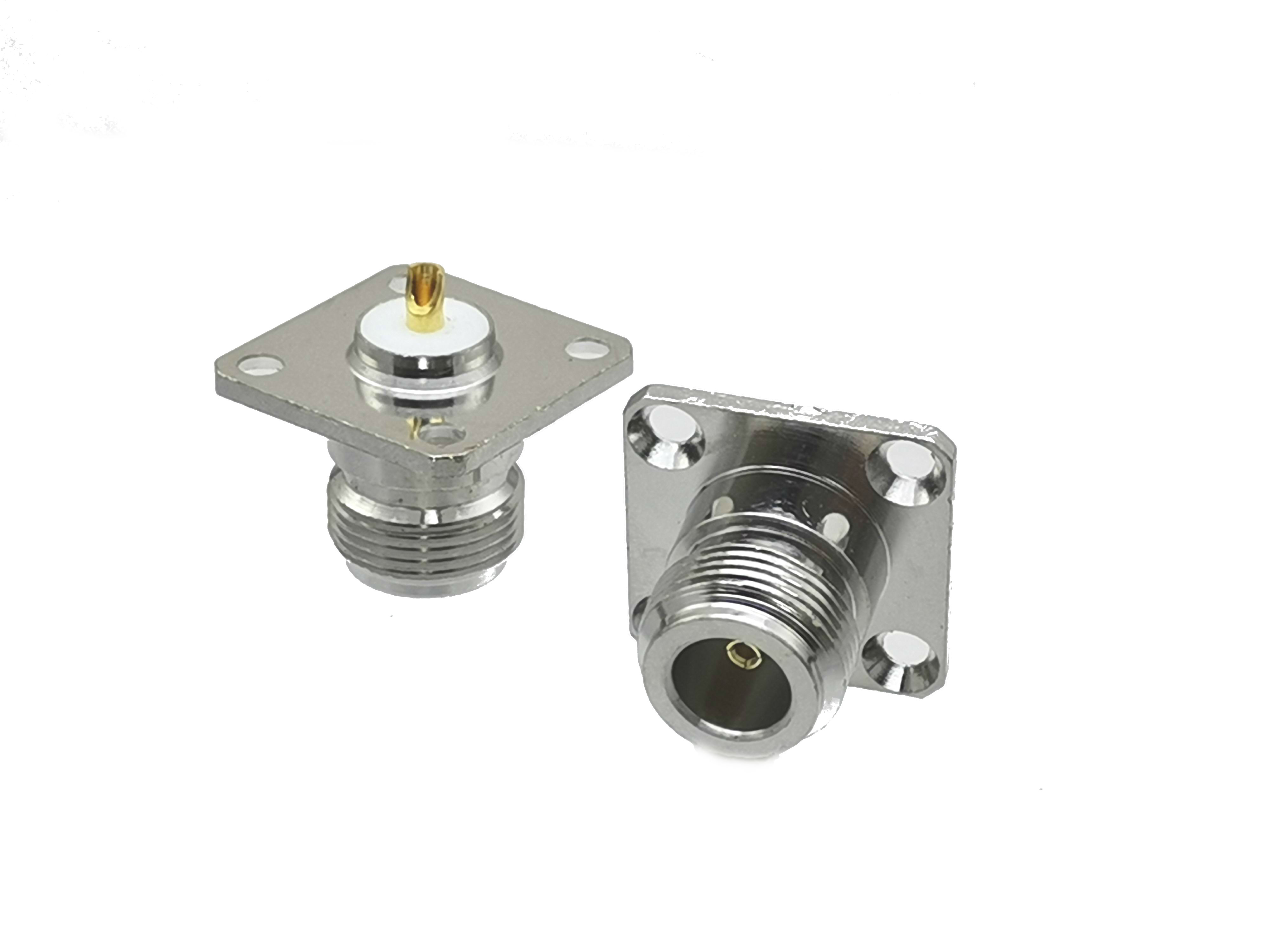 Connector N Female Jack 4-hole 25.4mm Flange Solder Panel Mount Straight RF Coaxial