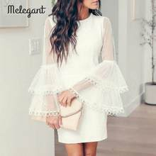 Mélégant Sexy fête 2019 hiver Robe femmes blanc maille moulante robes Femme Robe automne Mini Robe de grande taille robes(China)